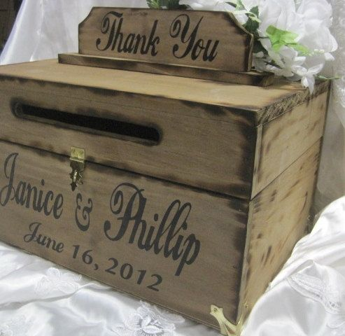 Large Rustic Wedding Card Box Keepsake Chest Handpainted Stained