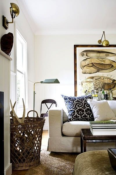 brass fixtures: Lamps, Lights Fixtures, Bedrooms Design, Rustic Living Rooms, Antlers Art, Beaches Houses, Baskets, Brass, White Wall