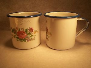 2 Vintage Enamel Cups Mugs Cinsa Enamelware from Mexico White Blue ...