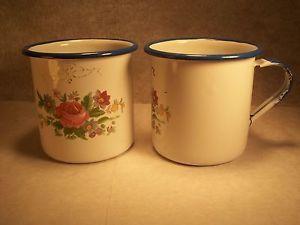 2 Vintage Enamel Cups Mugs Cinsa Enamelware from Mexico White Blue ...