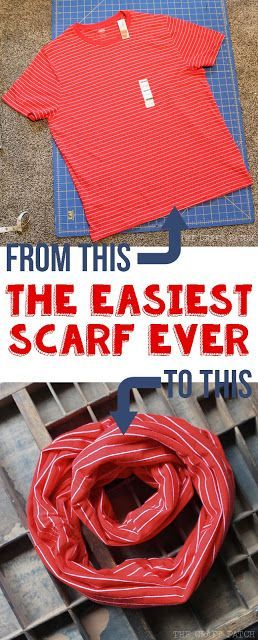 This no-sew scarf takes less than five minutes to make! Great way to repurpose a t-shirt!: