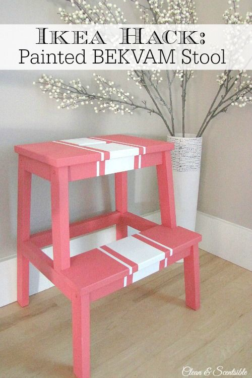 Cute painted Ikea BEKVAM stool. // cleanandscentsible.com