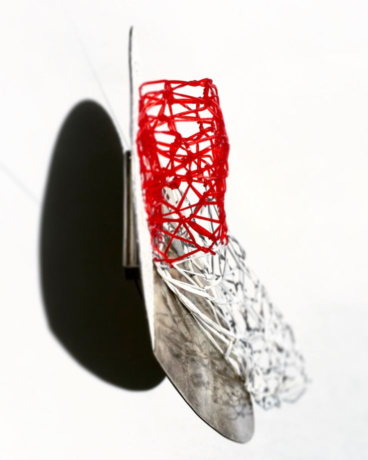 "Laura Stefani, Eva Franceschini, brooch ""Gessetto Rosso"", plastic, silver, pigment, 2013."