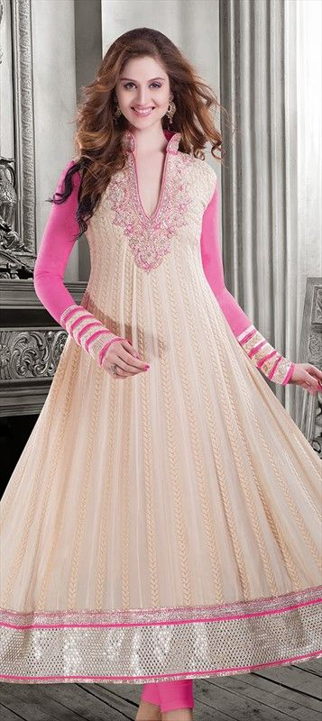 414461: Wheat Bran inspired #embroidery in this #anarkali. Buy now at FALT 10% OFF! #pastel
