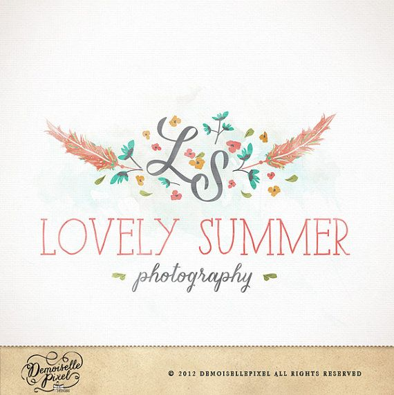 Premade Photography Logo / hand drawn feathers by Demoisellepixel