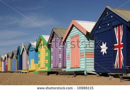 Brighton Victoria bathing boxes   bathing boxes/beach huts at Brighton Beach, Melbourne, Victoria ...