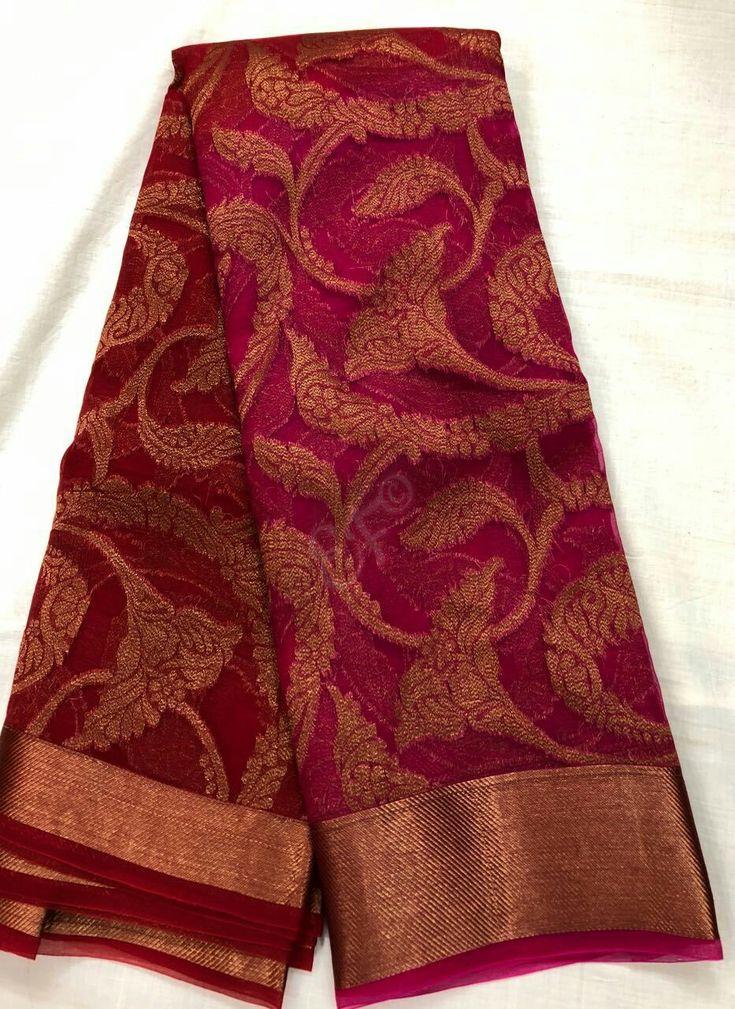 Pure Organza Sarees With Antic Gold Zari Allover Designs @5199+$ Order what's app 7093235052