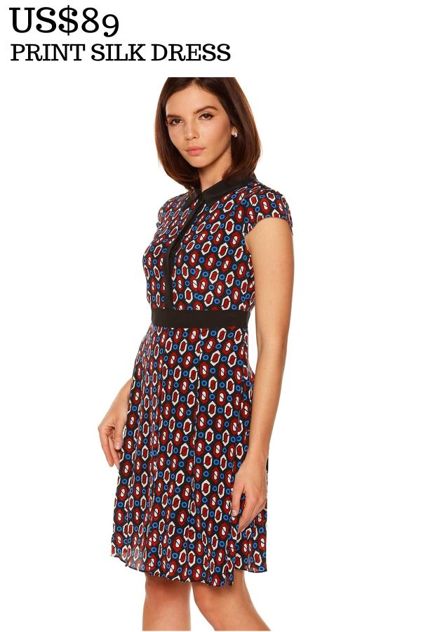 PRINT SILK DRESS Print Silk Dress is made from 100% silk and it features a classic collar, button up front and short sleeves.US$89