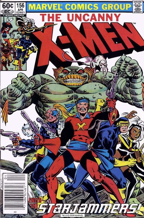 Starjammers: Uncanny X-Men #156, april 1982, cover by Dave Cockrum and Bob Wiacek.