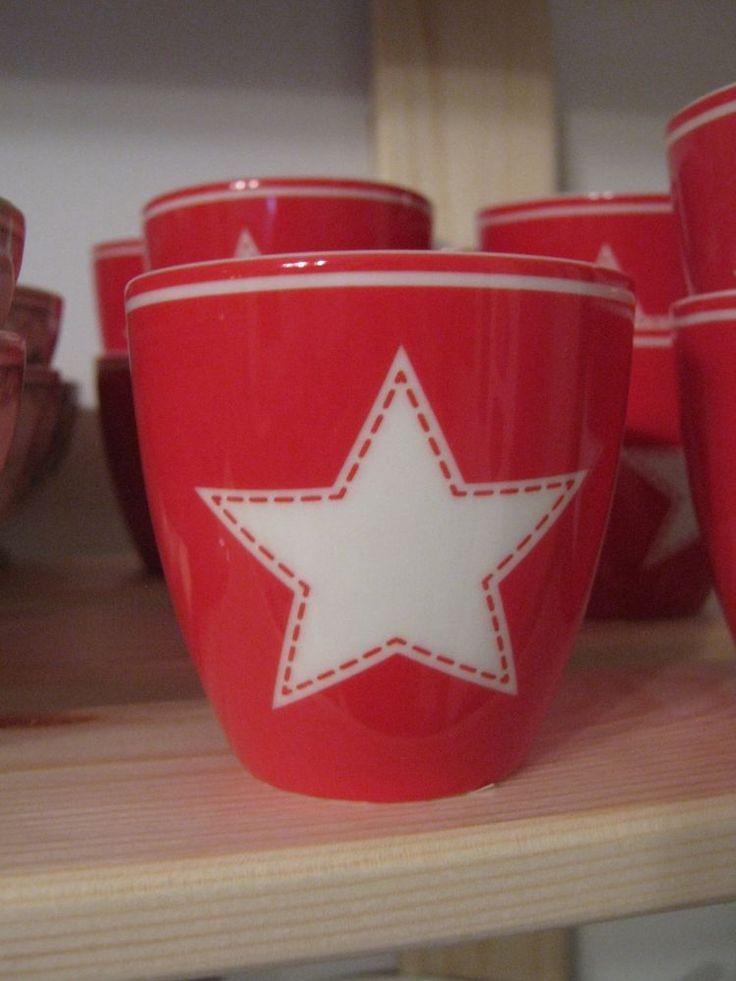 Greengate tazzina Mini latte cup star red H.6,50cm