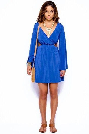 Blue cute cut out bell dress fashionpopboutique.com