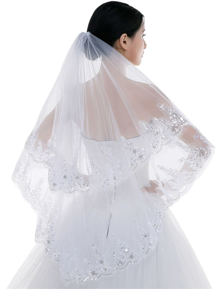 Bling Appliques Sequined Wedding Veils 2016 Fashion Real Picture Two Layer Tulle Bridal Accessories