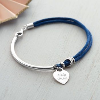 Personalised Silk And Sterling Silver Charm Bangle