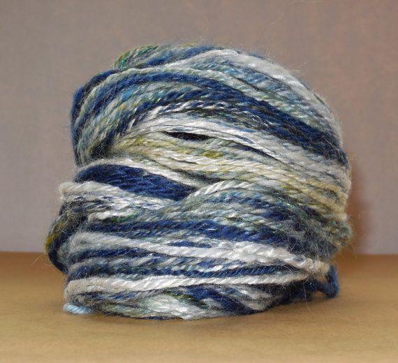 Handspun Yarn wool silk sparkle bamboo 2.6ounce by SpinHeartSpin, $20.00
