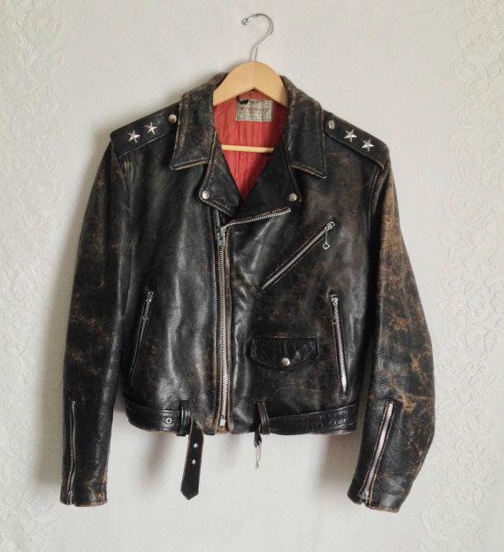 50s Black Leather Motorcycle Jacket // by DizzyDreamerVintage