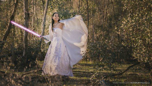 That included staging a realistic lightsaber battle, inspired by fight sequences from the first six movies in the franchise. | This Couple's Star Wars-Themed Wedding Pictures Are Intensely Awesome