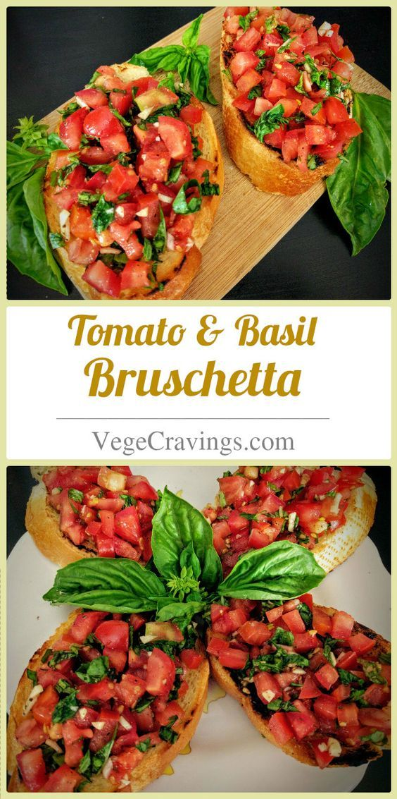 Italian appetizer made from toasted bread topped with tomato, basil, garlic and drizzled with olive oil and vinegar | Vegetarian Snack Recipes with Step By Step Photos