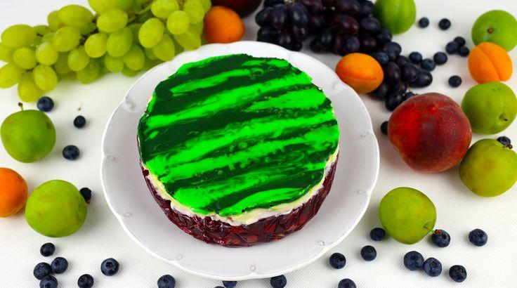 Orchideli- Watermelon cake with only two ingredients:  jelly and chocolate. Tort arbuz z galaretki i czekolady.