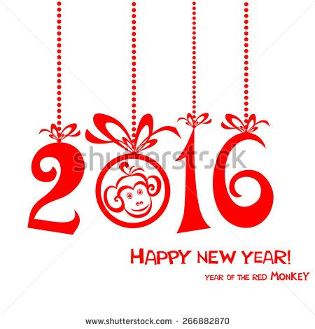 Happy new year 2016. Year Of The red Monkey. Vector Illustration