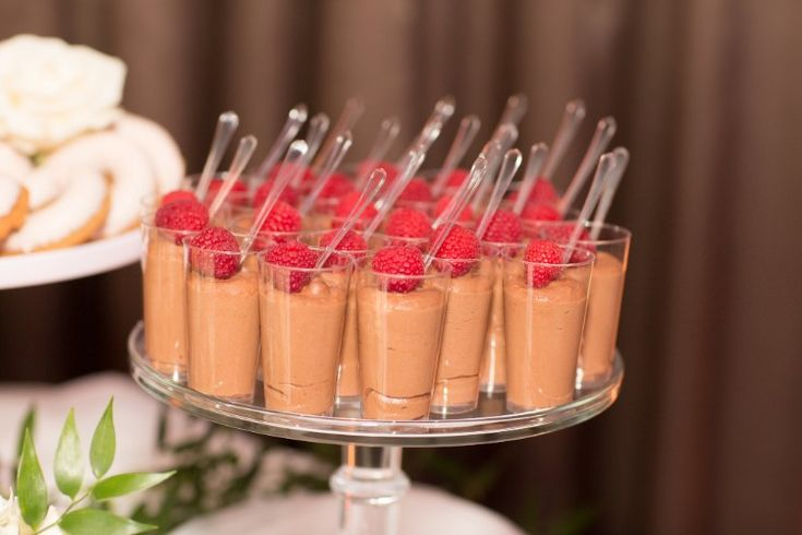 Romantic Jupiter Wedding at Wyndham Grand Jupiter at Harbourside Place, FL  Cute individual chocolate mousse desserts!   Photographer:  Thompson Photography Group
