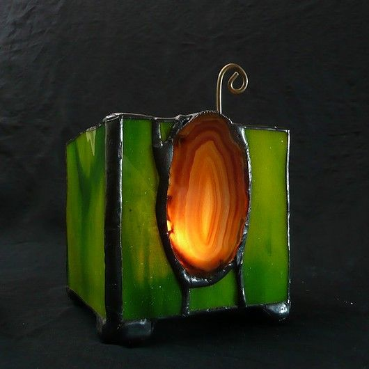GIFT. Lantern with agate. Hand made  // PREZENT. Lampion z agatami. Hand made