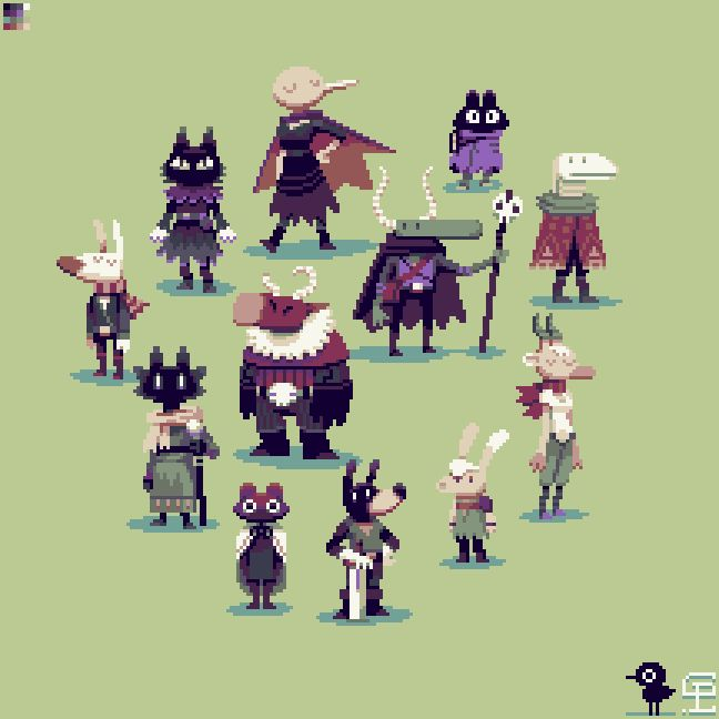 I decided to pixel some characters from some really cool doodles by Dom2D. Drawing animal people is a habit I just can't break.