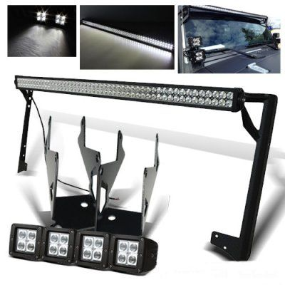 Jeep Wrangler 2007-2015 LED Light Bar and Dual Spot Beam LED Windshield Lights with Mounts