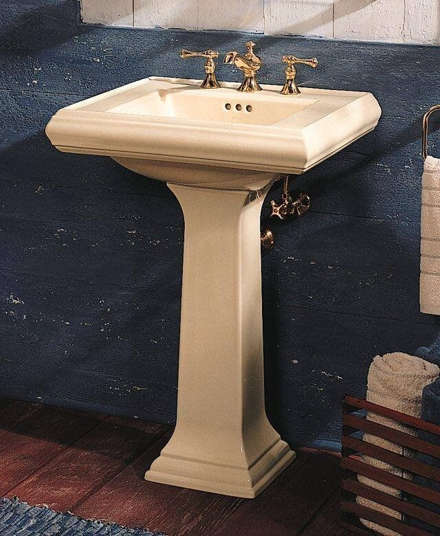 Kohler Memoirs Pedestal Lavatory With Single Hole Faucet Drilling Almond  Fixture Pedestal Sink Fireclay