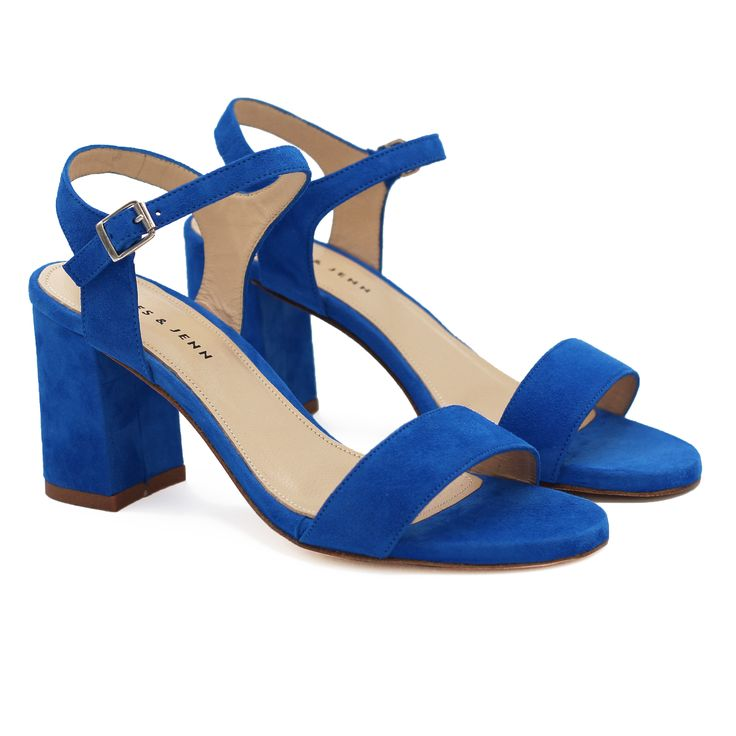 Sandales à talon cuir daim bleu