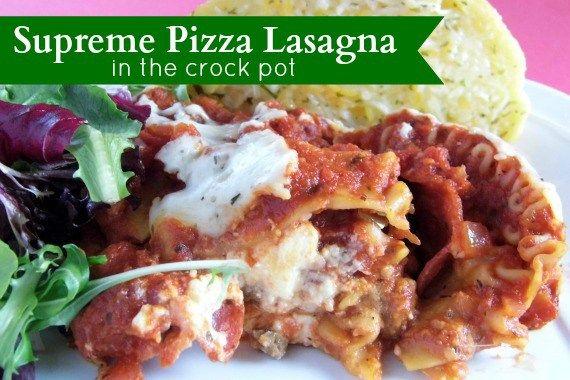 Supreme Pizza Lasagna in the Crock Pot | Bakerette.com