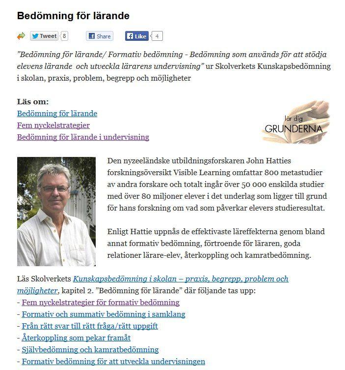 Bedömning för Lärande (#bfl) http://webb2.svedala.se/utbildning/?page_id=410 Läs även Kunskapsbedömning i Skolan från Skolverket http://webb2.svedala.se/utbildning/wp-content/uploads/2012/11/pdf2660.pdf  . Ett praktiskt exempel på där Derek Muller möjliggör reflektion och eget lärande: The key to effective educational science videos  http://www.youtube.com/watch?v=RQaW2bFieo8