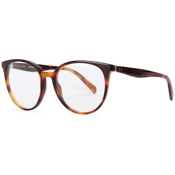 Womens Optical Frames Céline Tortoiseshell Round-frame Optical Glasses (€270) ❤ liked on Polyvore featuring accessories, eyewear, eyeglasses, tortoise shell eyeglasses, tortoise shell glasses, tortoise eyewear, tortoiseshell eyeglasses и acetate glasses