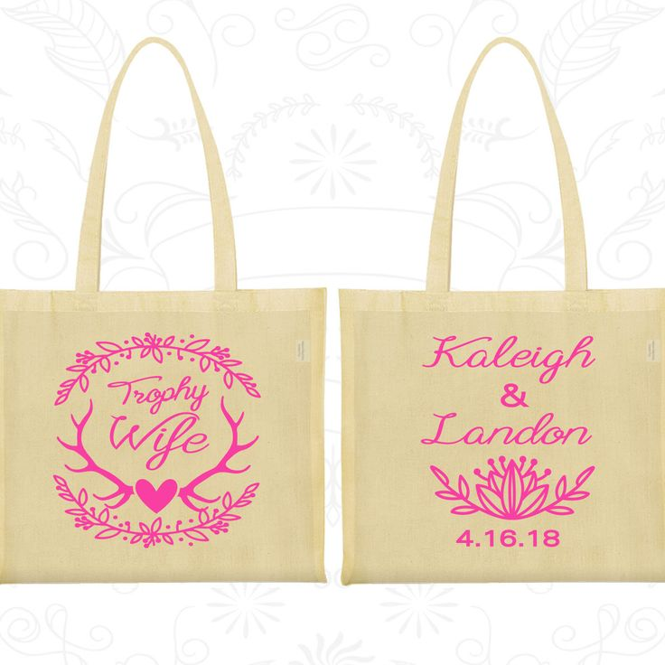 Trophy Wife, Personalized Large Tote Bags, Floral Wedding Bags, Antler Bags, Deer Antler Wedding Bags, Tote Bag Canvas (475)