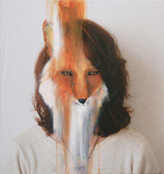 The humanization of animals and animalizing humans paintings on photographs by Charlotte Caron.  via Juxtapoz Magazine