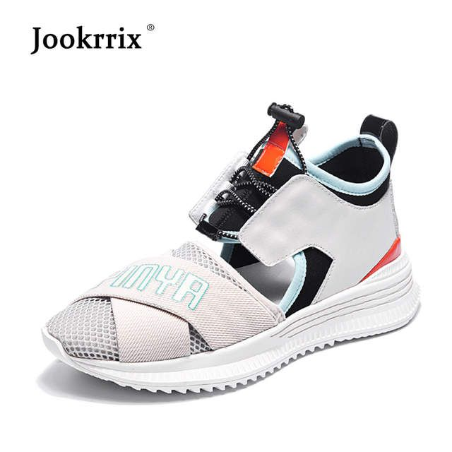 Jookrrix Rahat Ayakkabi Kadin Moda Marka Platformu Sneakers Lady Shoes Gercek Deri Yaz Kadin Ayakkabi Nefes Kiz Motorcu Botlari Sneaker Ayakkabi Erkek