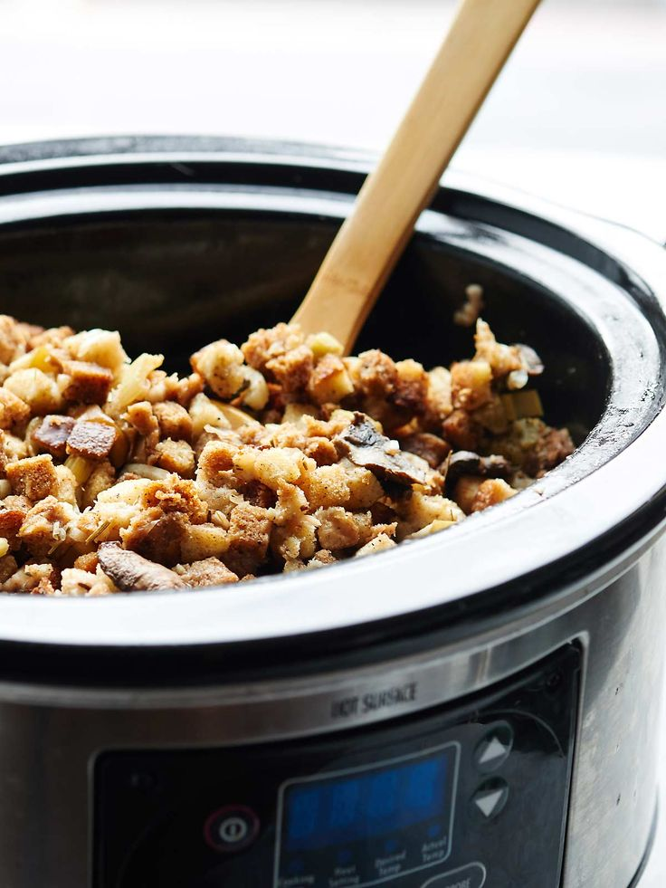 This Easy Crockpot Vegetarian Stuffing Recipe (can be vegan!) only takes 15 minutes of prep! The perfect Thanksgiving side dish! showmetheyummy.com #thanksgiving #crockpot