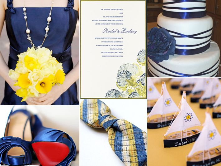yellow and navy blue wedding ideas - Google Search