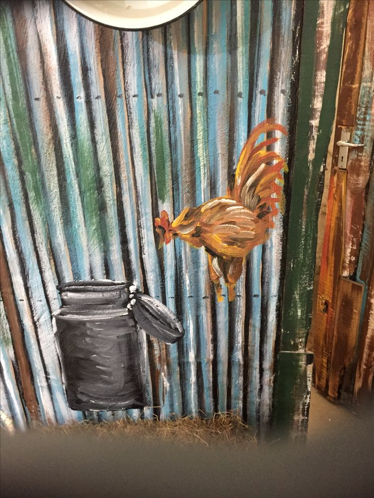 Chicken and milkcan art on corrugated sheeting