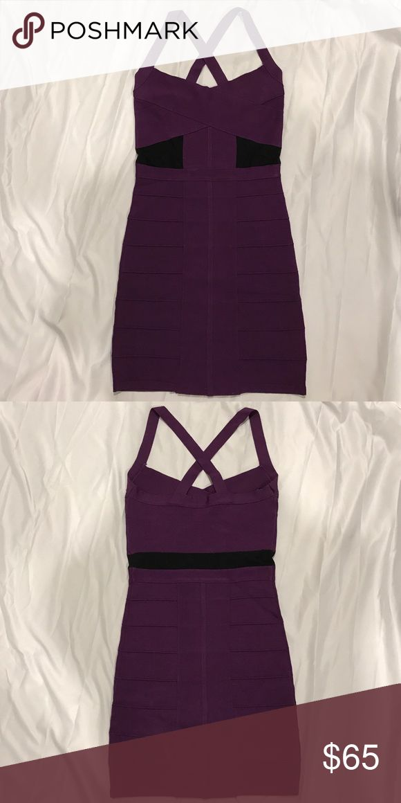 Bebe bandage dress Dark purple size XS Bebe dark purple bandage dress. Cross cross back straps. Size XS. Worn once . Excellent condition. bebe Dresses Mini