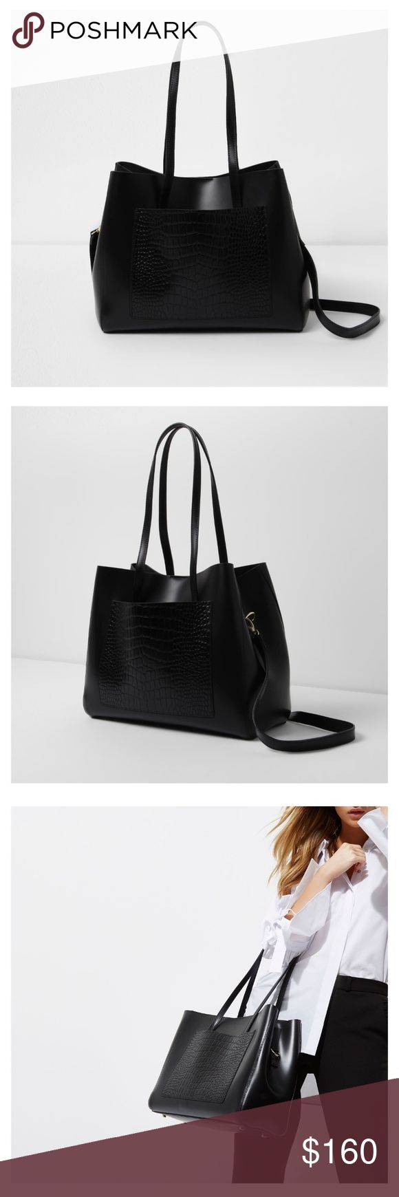 Black leather Croc embossed Tote bag Brand new in it's original packaging. Very chic and classy for the everyday working woman. The price is the exact price I paid for it. I just want majority of money back. River Island Bags Totes
