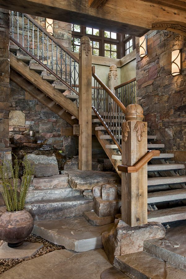 lovely concrete stairs, rustic stone walls, stoney waterfeature.