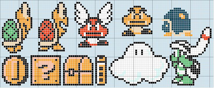 Super Mario Bros. 3 (enemies) Pattern! — A video game inspired craft weblog