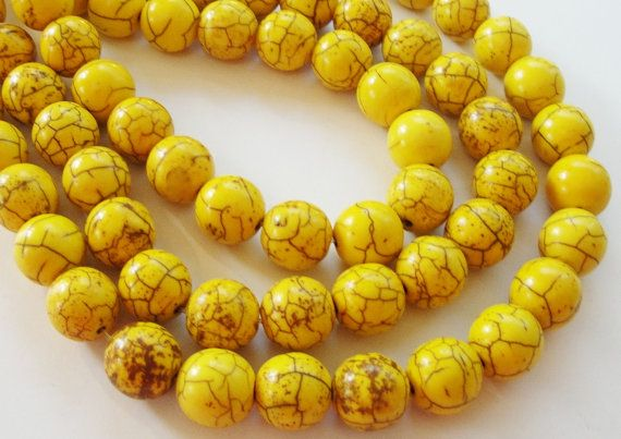 Yellow Howlite Turquoise Round Stone Beads 8 Inch Strand 8mm Beads Not Jewelry