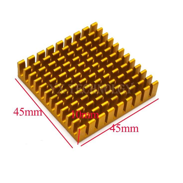 SZYTF  5pcs Heat sink 45*45*10MM (gold broken groove) high-performance heat sink yellow thick aluminum plate