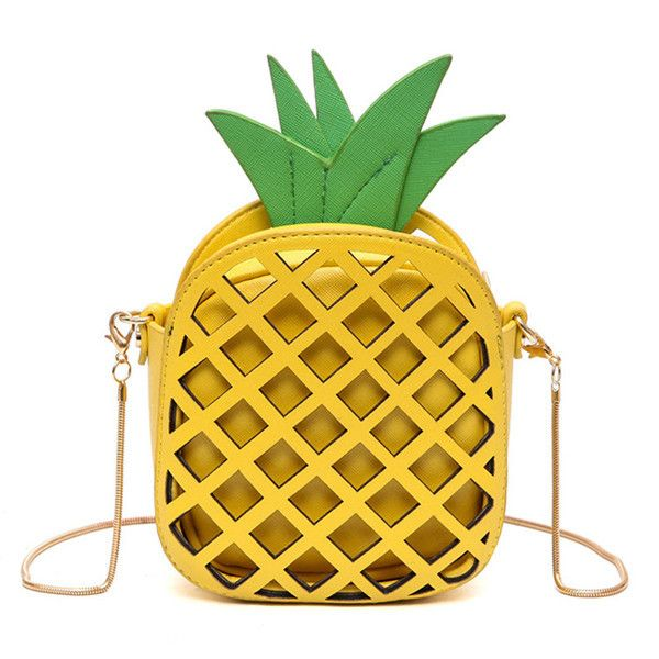 Pineapple Mini Bag With gold Chain