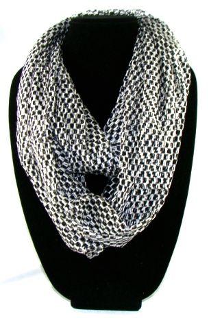 Comfortable Women's black & white net infinite  scarf. 163cmx53cm long scarf. #I122(YQJ)