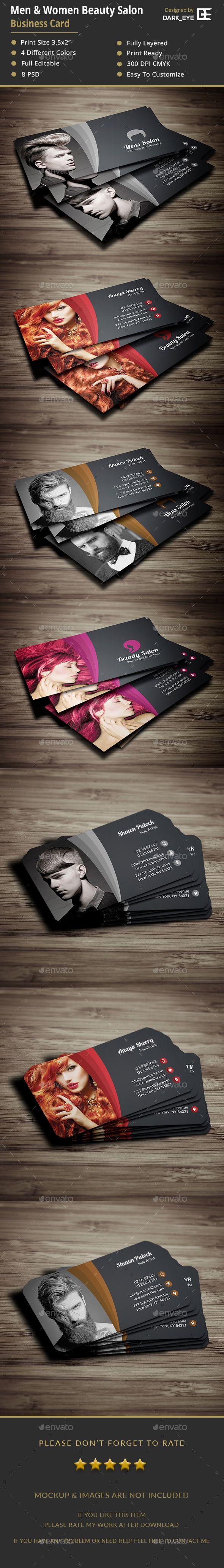 Men & Women Salon Business Card Template PSD. Download here: https://graphicriver.net/item/men-women-salon-business-card/19013199?ref=ksioks