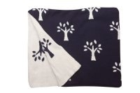 Tree Of Life Navy Blue 100% Cotton Cot Blanket