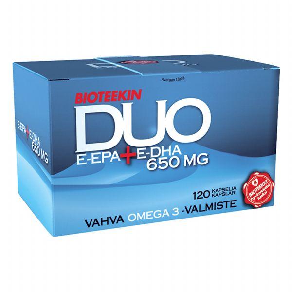 Bioteekin DUO, 36,90 € (Norm. 49,60 €). Vahva kalaöljyvalmiste E-EPA ja E-DHA. Life, E-taso.