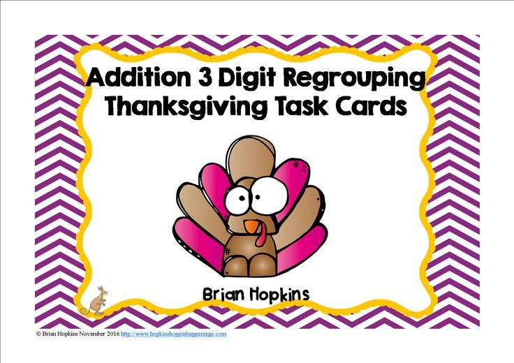 """These 24, 3 Digit Addition Regrouping Task Cards with a Thanksgiving (turkey) theme that are in both color and b/w and are perfect for math stations, rotations, centers, or to play """"Scoot"""", """"Quiz, Quiz Trade"""" and another cooperative group activities. They"""
